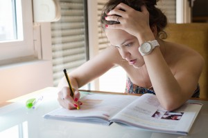girl studying alone